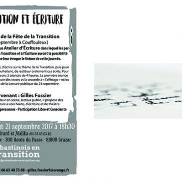 14/09/2017 et 21/09/2017- Atelier d'écriture «Transition et Ecriture»
